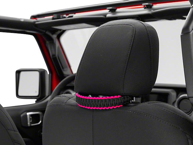 Alterum Headrest Paracord Grab Handles - Black and Pink (07-20 Jeep Wrangler JK & JL)