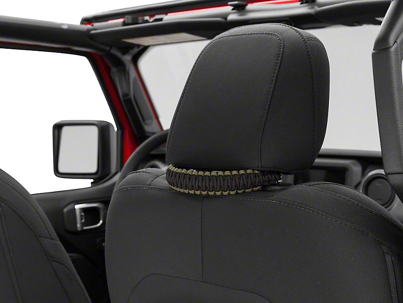 Alterum Headrest Paracord Grab Handles - Black and OD Green (07-19 Jeep Wrangler JK & JL)