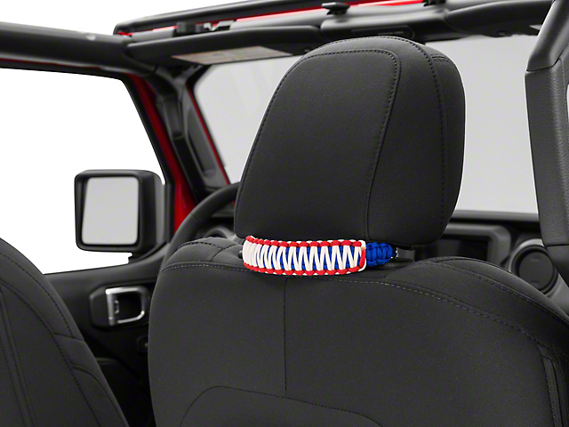 Alterum Headrest Paracord Grab Handles - Red, White and Blue (07-20 Jeep Wrangler JK & JL)