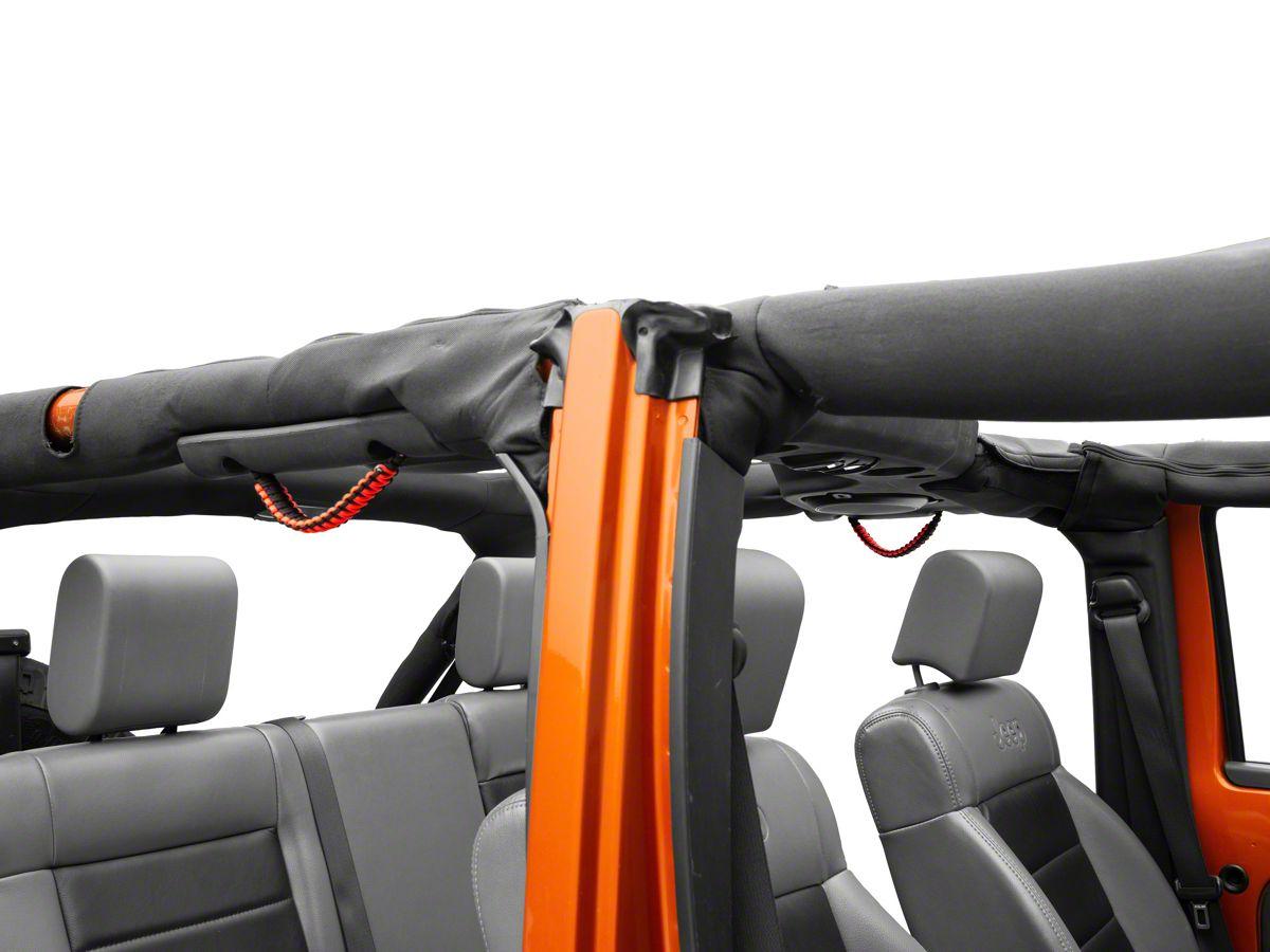 Alterum Rear Soundbar Paracord Grab Handles - Black and Neon Orange (07-18  Jeep Wrangler JK 4 Door