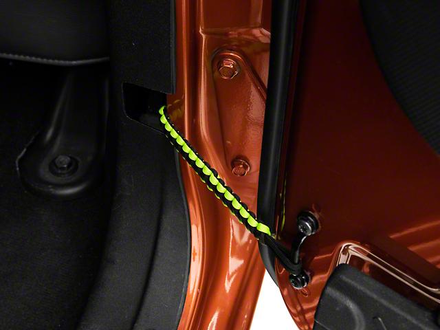 Alterum Rear Paracord Door Limit Straps; Black and Neon Green (07-18 Jeep Wrangler JK 4 Door)