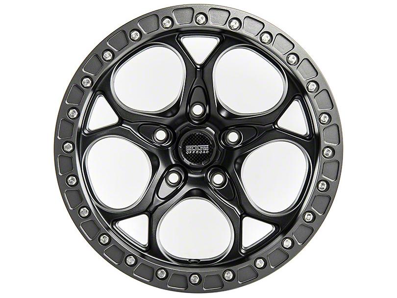 Edge Wheels RF5C Beadlock Matte Black and Gunmetal Wheel; 17x9 (18-20 Jeep Wrangler JL)