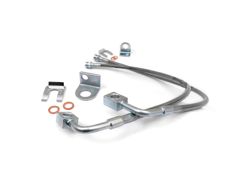 Rough Country Front Stainless Steel Brake Lines for 4-6 in. Lift (07-18 Jeep Wrangler JK)