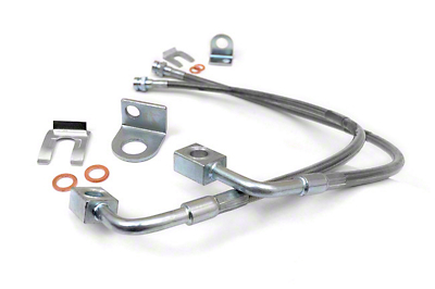 Rough Country Front Stainless Steel Brake Lines for 4-6 in. Lift (07-17 Wrangler JK)