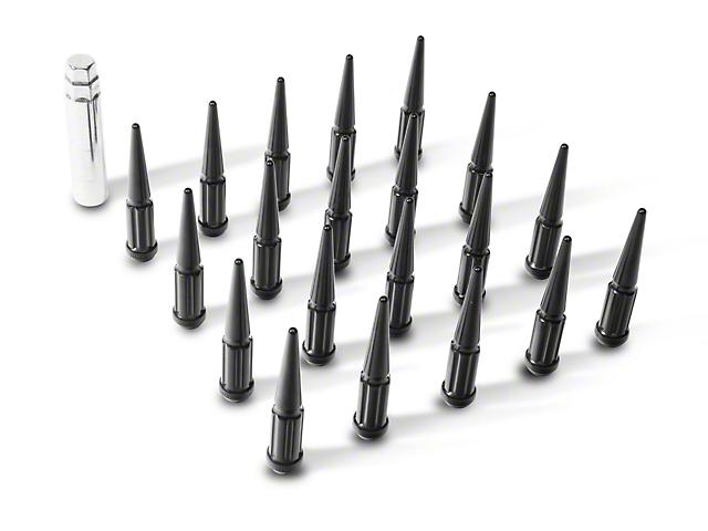 Coyote Black Spike Lug Nut Kit; 14mm x 1.5; Set of 20 (18-20 Jeep Wrangler JL)