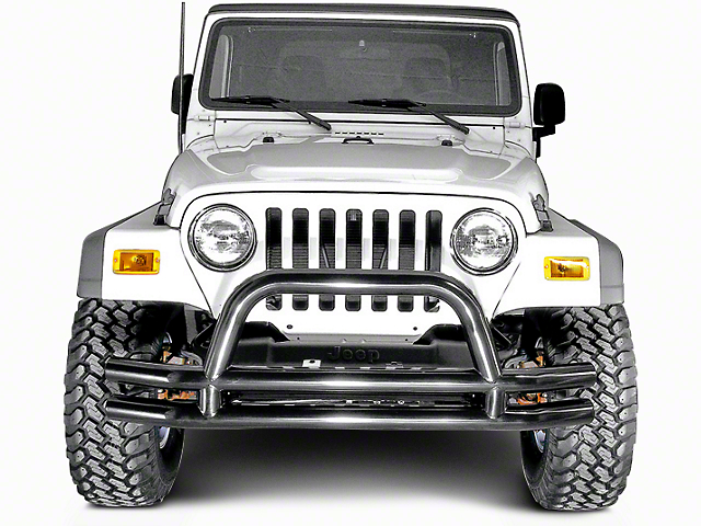 Rugged Ridge 3-Inch Double Tube Front Bumper; Black (87-06 Jeep Wrangler YJ & TJ)