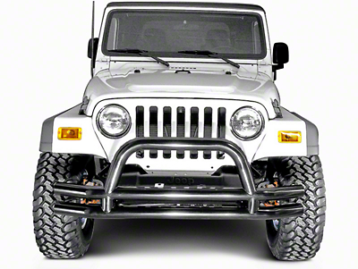 Rugged Ridge Tubular Front Bumper w/ Hoop - Gloss Black (87-06 Jeep Wrangler YJ & TJ)
