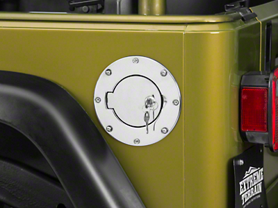 Rugged Ridge Locking Fuel Door - Stainless Steel (97-06 Jeep Wrangler TJ)