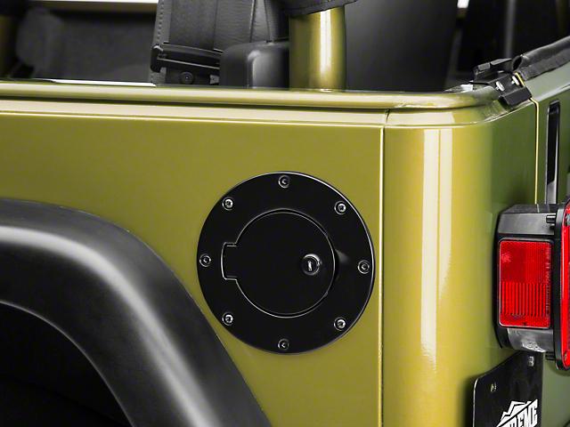 Rugged Ridge Locking Fuel Door Cover; Black (97-06 Jeep Wrangler TJ)