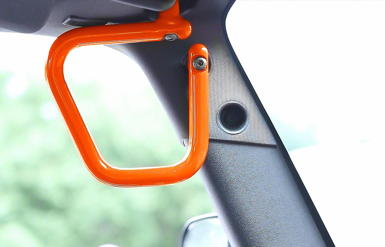 Steinjager Rigid Wire Form Front Grab Handles - Fluorescent Orange (07-18 Jeep Wrangler JK)