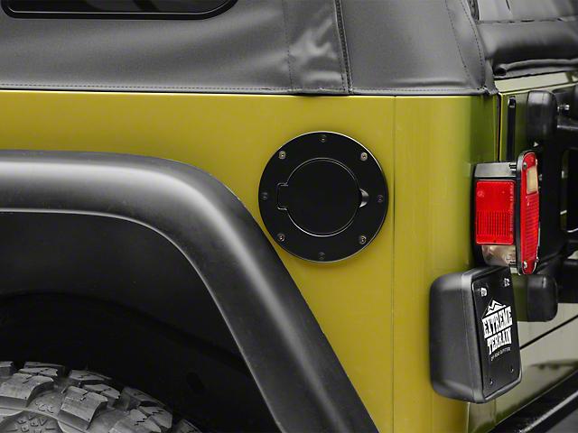 Smittybilt Billet Style Gas Cover - Gloss Black (97-06 Jeep Wrangler TJ)