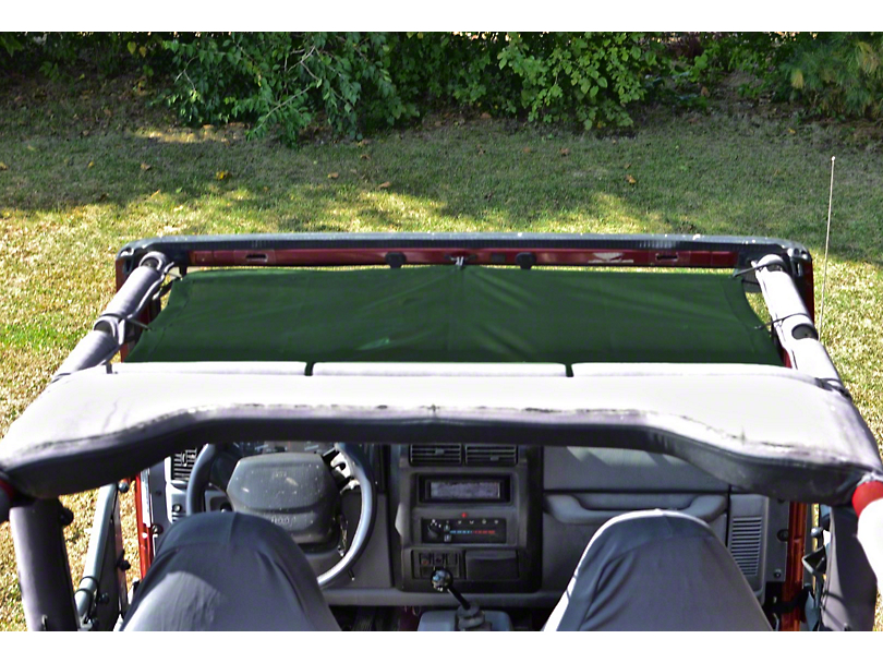 Steinjager Teddy Top Front Seat Solar Screen Cover - Dark Green (97-06 Jeep Wrangler TJ)