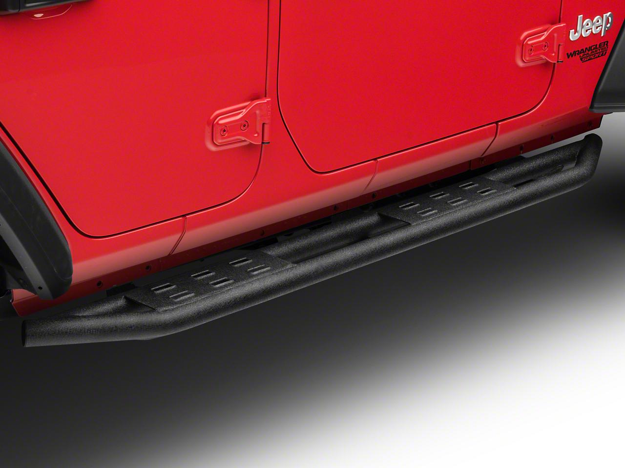 RedRock 4x4 Side Armor w/ Step Pads - Textured Black (2018 Jeep Wrangler JL 4 Door)
