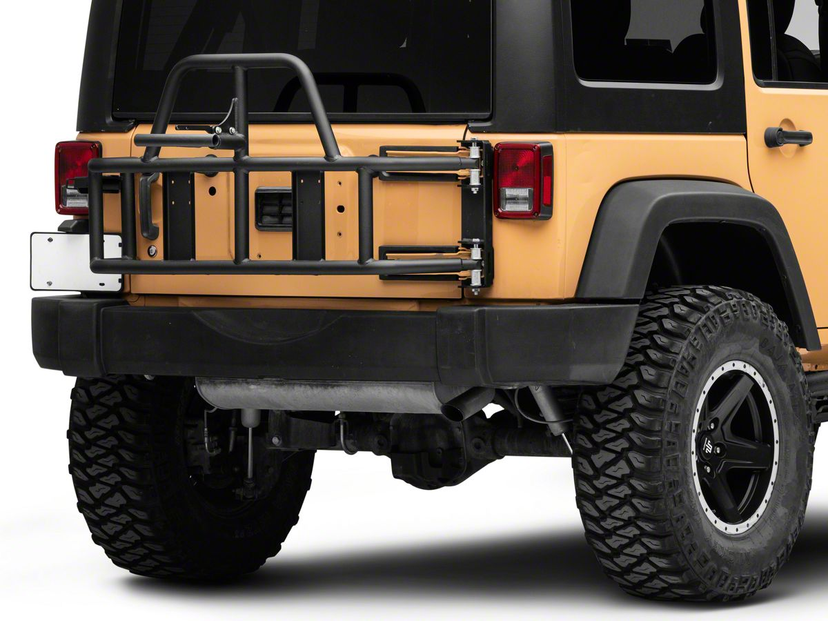 OR-Fab Jeep Wrangler Swing Away Tire Carrier 85209 (07-18 Jeep Wrangler JK) | White Jeep Sahara Lifted With Tire Carrier And Led Tail Lights |  | ExtremeTerrain