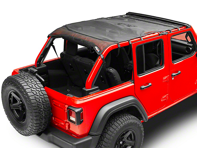 JTopsUSA Mesh Shade Top; Black (18-20 Jeep Wrangler JL 4 Door)
