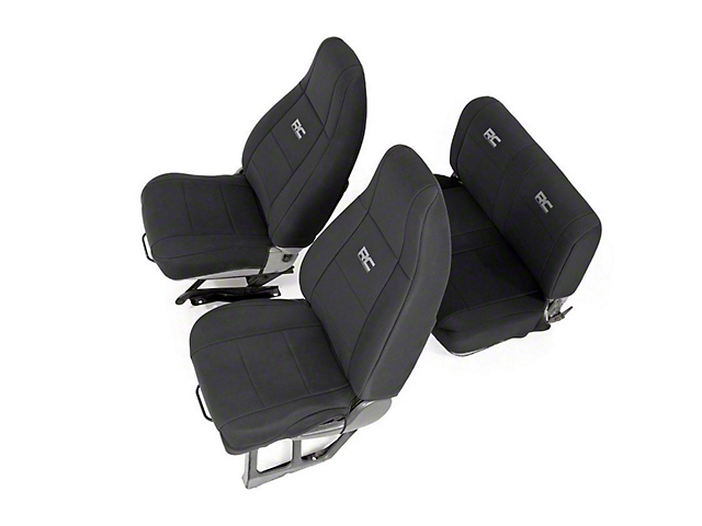 Rough Country Neoprene Seat Covers; Black (91-95 Jeep Wrangler YJ)