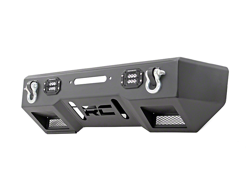 Rough Country Black Series LED Stubby Front Bumper w/ Winch Mount (18-19 Jeep Wrangler JL)