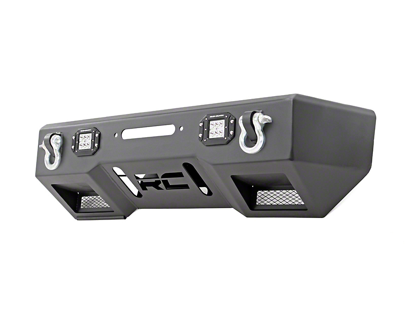 Rough Country Chrome Series LED Stubby Front Bumper w/ Winch Mount (18-19 Jeep Wrangler JL)