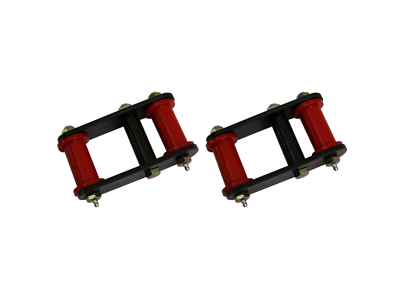 HD Greasable Front Shackles Pair w/ Red Bushings (87-95 Jeep Wrangler YJ)