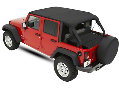 Bestop Header Safari Bikini Top - Black (07-09 Jeep Wrangler JK 4 Door)