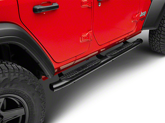 Pro Traxx 4-Inch Oval Side Step Bars; Black (18-20 Jeep Wrangler JL 4 Door)