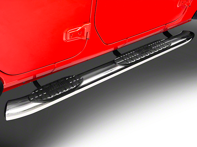5 in. Pro Traxx Oval Side Step Bars - Stainless Steel (18-20 Jeep Wrangler JL 4 Door)