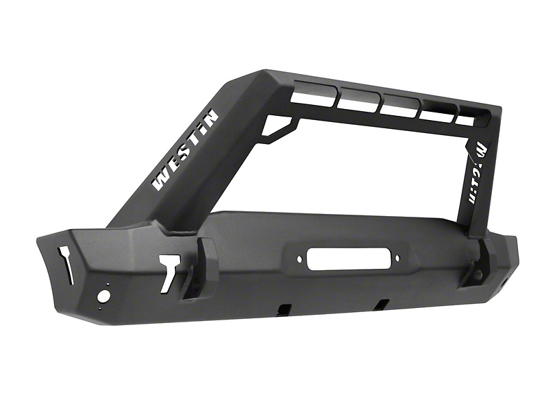 WJ2 Stubby Front Bumper w/ LED Light Bar Mount - Textured Black (18-20 Jeep Wrangler JL)