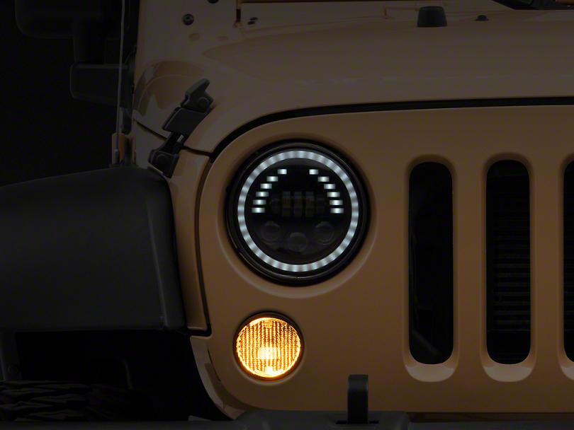 Raxiom 7 in. LED Headlights w/ Halo, Turn Signal & Marker Light (07-18 Jeep Wrangler JK)