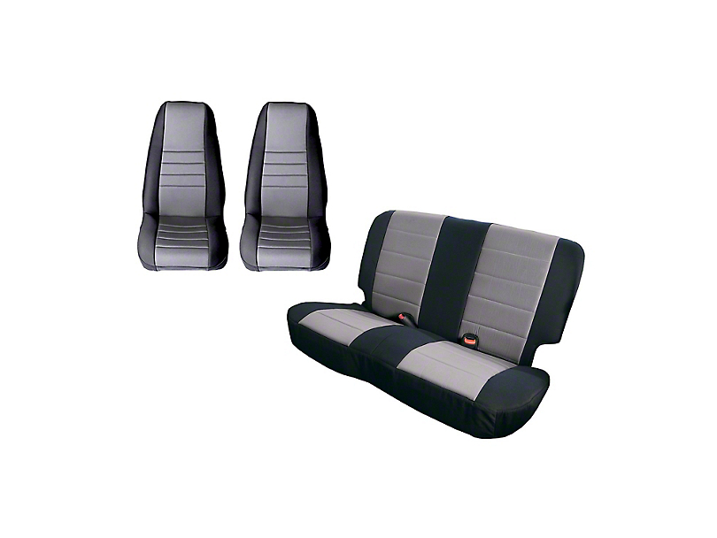 Rugged Ridge Front and Rear Seat Covers; Black/Gray (87-90 Jeep Wrangler YJ)