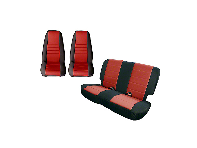 Rugged Ridge Seat Cover Kit - Black/Red (87-90 Jeep Wrangler YJ)