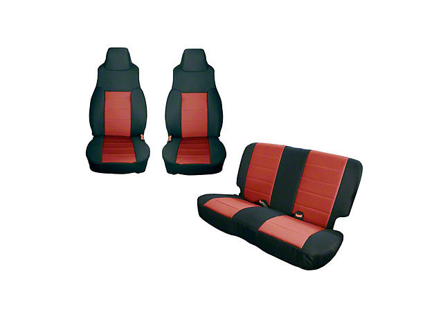 Rugged Ridge Front and Rear Seat Covers; Black/Red (91-95 Jeep Wrangler YJ)