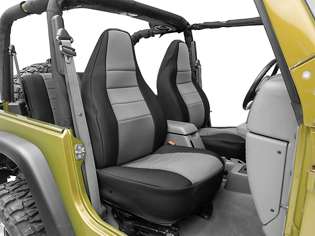 Rugged Ridge Front and Rear Seat Covers; Black/Gray (97-06 Jeep Wrangler TJ)