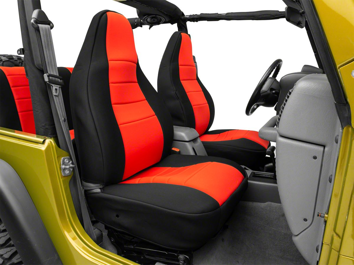 Jeep Wrangler Seat Covers >> Rugged Ridge Seat Cover Kit Black Red 97 06 Jeep Wrangler Tj