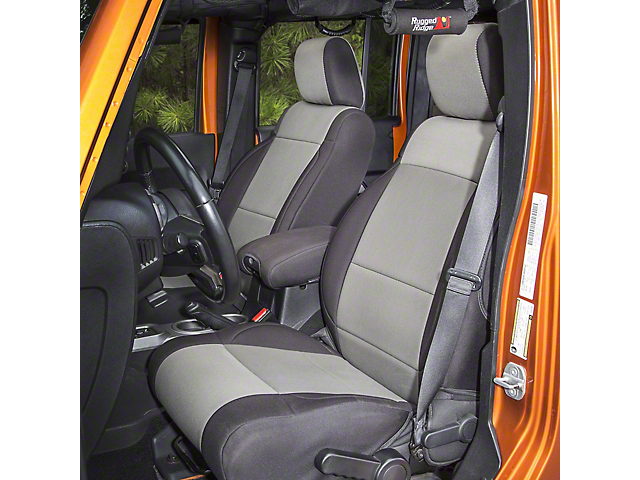 Rugged Ridge Front and Rear Seat Covers; Black/Gray (07-18 Jeep Wrangler JK 4 Door)