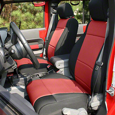 Rugged Ridge Seat Cover Kit - Black/Red (07-18 Jeep Wrangler JK 4 Door)