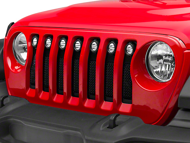 T-REX Torch Series Grille Insert with LED Lights; Black (18-20 Jeep Wrangler JL)