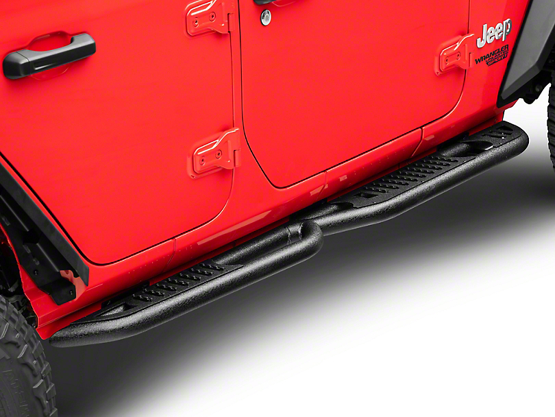 DV8 Off-Road Tubular Rock Slider Steps - Black (18-20 Jeep Wrangler JL 4 Door)