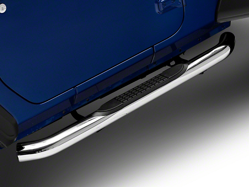 RedRock 4x4 3 in. Round Curved Side Step Bars - Stainless Steel (18-19 Jeep Wrangler JL 2 Door)
