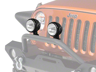 Rugged Ridge 5 in. Round HID Off-Road Fog Lights w/ Black Steel Housings - Pair (87-18 Jeep Wrangler YJ, TJ, JK & JL)