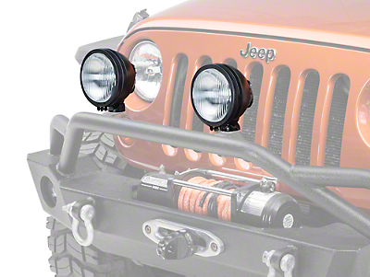 Rugged Ridge 6 in. Round HID Off-Road Fog Lights - Black - Pair (87-13 Jeep Wrangler YJ, TJ & JK)
