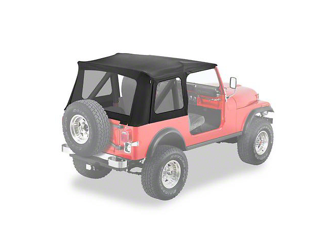 Bestop Supertop Classic Replacement Skins with Clear Windows; Black Denim (87-95 Jeep Wrangler YJ)