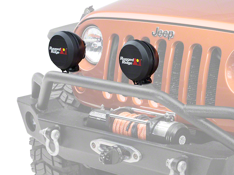 Rugged Ridge 6 in. HID Off-Road Light Cover - Black (87-19 Jeep Wrangler YJ, TJ, JK & JL)