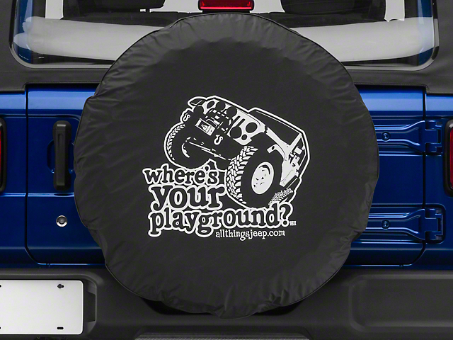 Where's Your Playground w/ Jeep Spare Tire Cover (87-19 Jeep Wrangler YJ, TJ, JK & JL)