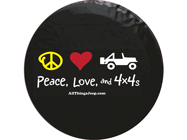 Peace, Love and 4x4s Spare Tire Cover (87-18 Jeep Wrangler YJ, TJ & JK)
