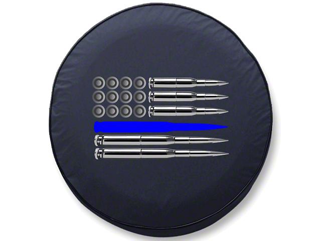 Police Thin Blue Line Ammo Flag Spare Tire Cover (87-20 Jeep Wrangler YJ, TJ, JK & JL)