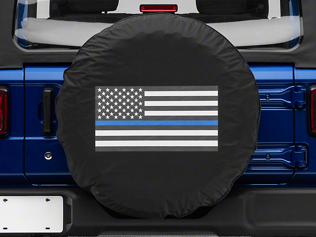 Thin Blue Line American Flag Spare Tire Cover (87-19 Jeep Wrangler YJ, TJ, JK & JL)