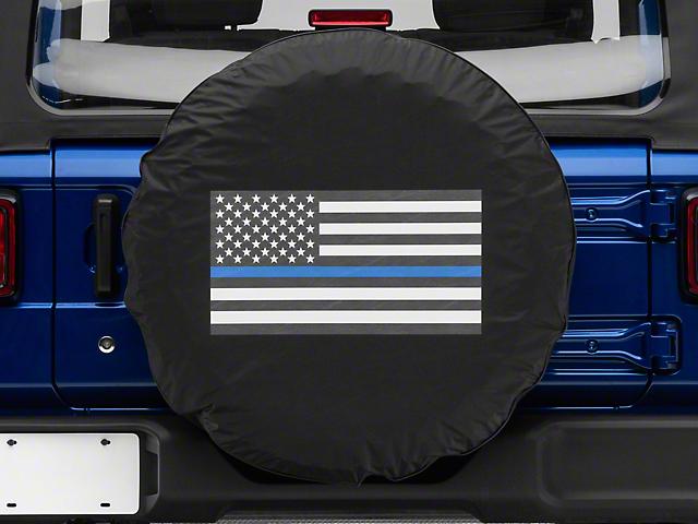 Thin Blue Line American Flag Spare Tire Cover (87-18 Jeep Wrangler YJ, TJ & JK)