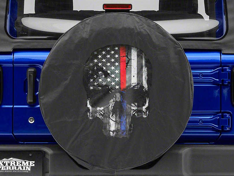 Police & Firefighters Blue & Red Line Skull Spare Tire Cover (87-19 Jeep Wrangler YJ, TJ, JK & JL)