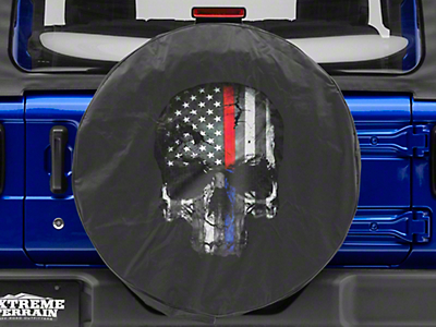 Police & Firefighters Blue & Red Line Skull Spare Tire Cover (87-18 Jeep Wrangler YJ, TJ, JK & JL)