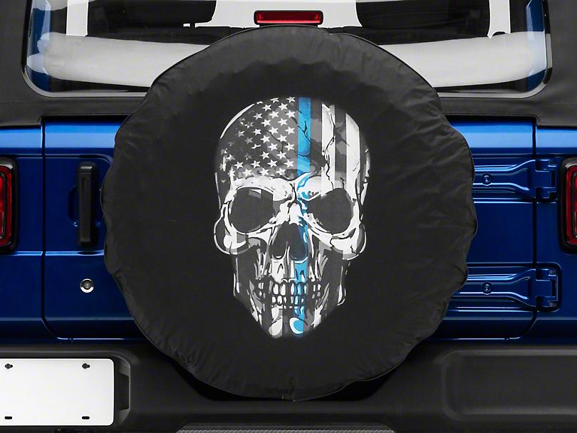 Police Thin Blue Line Skull Spare Tire Cover (87-19 Jeep Wrangler YJ, TJ, JK & JL)